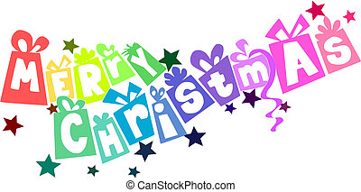 Colorful gifts - christmas text. Vector illustration.
