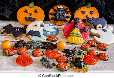 Colorful gingerbread cookies for halloween