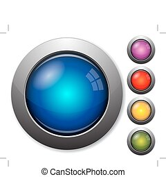 Colorful glass buttons with metal borders on white ...