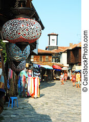 Colorful glass lamps at market of old Nesebar