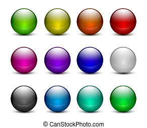 Colorful glass sphere buttons set