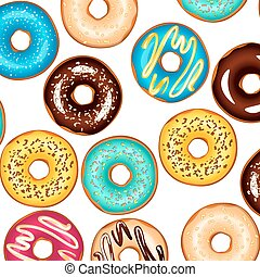 Colorful glazed donuts background.