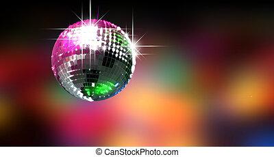 Colorful Glinting Disco Ball - A colorful reflective disco...