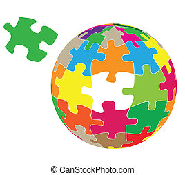 Colorful globe puzzle vector background for poster