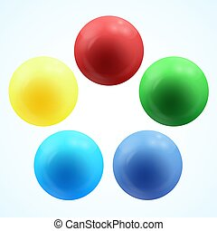 Colorful glossy 3d volume of a spheres isolated on white