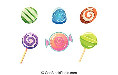 Colorful glossy candies and lollipops set, sweets of different shapes, user interface assets for mobile apps or video games vector Illustration