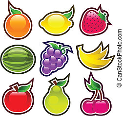 Colorful Glossy Fruits - Vector set of colorful shiny yummy...