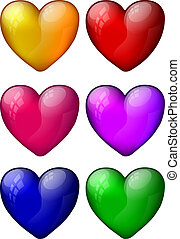 Colorful Glossy Heart Set