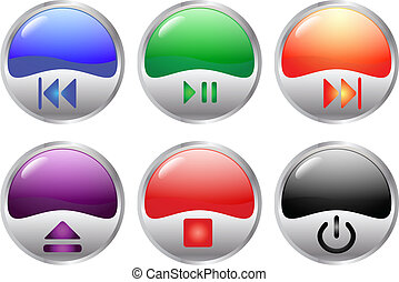 glossy multimedia buttons - colorful glossy multimedia ...