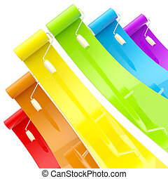 Colorful glossy paint rollers with color strokes