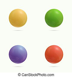 Colorful glossy spheres with reflection. green, yellow, red,...