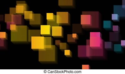 Colorful glossy squares abstract tech motion background - ...