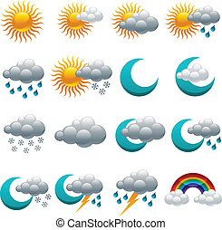 Colorful Glossy weather Icons - Set of colorful glossy...