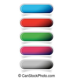Colorful glossy web bar button vector set