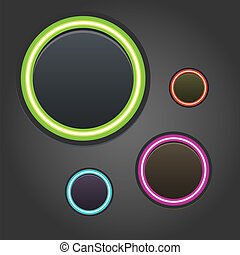 Colorful glowing buttons on dark background