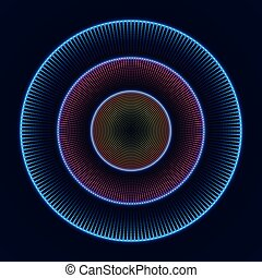 Colorful glowing concentric circles of dots. Abstract vector background