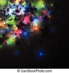 Colorful glowing luminous stars on dark background