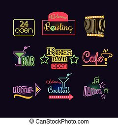 Colorful Glowing Neon Lights Graphic Designs for Cafe and...
