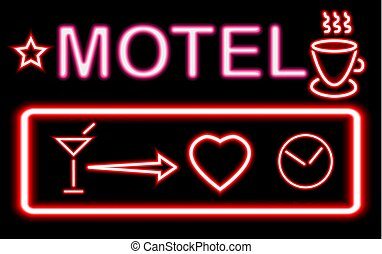 Colorful glowing neon lights graphic designs for cafe and bar signs on black