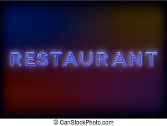 Colorful Glowing Neon Lights Restaurant. Restaurant neon sign, design for your business. Bright attracts the attention of a luminous sign saying - Restaurant. Glowing Restaurant. EPS10 vector image.