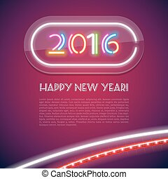 Colorful Glowing Neon Sign 2016