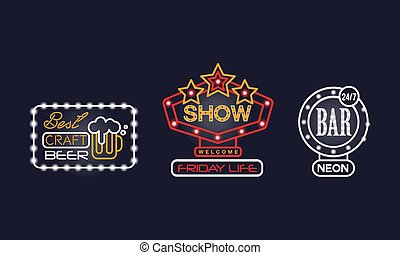 Colorful Glowing Neon Signboards and Retro Street Banners Vector Set