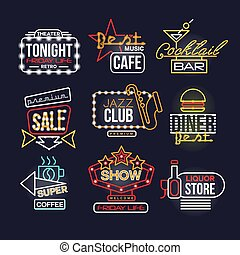 Colorful glowing neon signboards set, retro light banners vector Illustrations