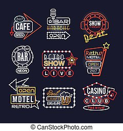 Colorful glowing signboards set, retro neon street signs vector Illustrations