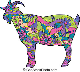Colorful goat - vector illustration of colorful goat...