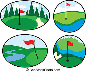 Colorful Golf Icons with red flags