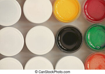 Colorful Gouache set of artistic cans