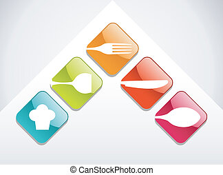 Colorful gourmet icons set