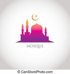 colorful gradation design - Mosque and Crescent moon, red...