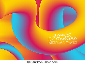 Colorful gradient 3d wavy liquid shapes background