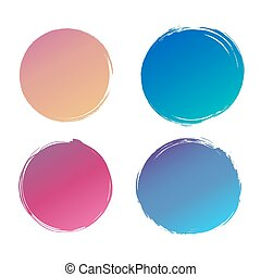 Colorful gradient Abstract grunge Logo circle Design Element with place for text on white background, vector illustration