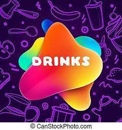 Colorful gradient flyer for cafe on bright and glossy background with drinks quote. Linear doodle illustration of food. Composition of multi-colored gradients and abstract shapes.