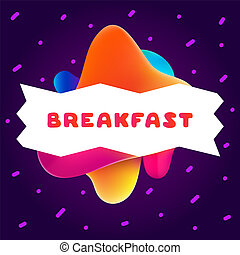 Colorful gradient flyer for cafe on bright background with breakfast quote. Composition of multi-colored gradients and fluid abstract shapes.