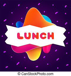 Colorful gradient flyer for cafe on bright background with lunch quote. Composition of multi-colored gradients and fluid abstract shapes.