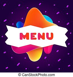 Colorful gradient flyer for cafe on bright background with menu quote. Composition of multi-colored gradients and fluid abstract shapes.