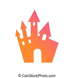Colorful gradient Halloween design element castle building icon