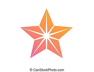 Colorful gradient pink to orange review star icon