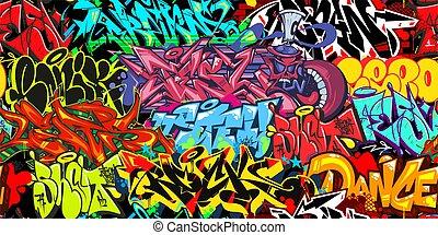 Colorful Graffiti Street Art Seamless Pattern. Vector Illustration Background Art