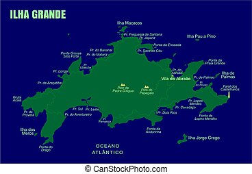 Colorful Grande Island Map, Brazil.