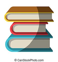 colorful graphic of collection of books without contour and...