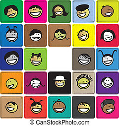 Colorful graphic of cute and happy faces of children(kids). The illustration shows faces of young girls and boys on colored background blocks expressing positive emotions like smiling or laughing