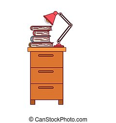 colorful graphic of filing cabinet with lamp and books with dark red line contour