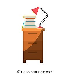 colorful graphic of filing cabinet with lamp and books without contour and half shadow
