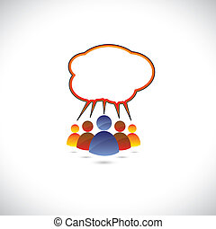 Colorful graphic of people chatting, talking, communicating. The illustration represents community of people sharing information or communicating online using social media or general conversation, etc