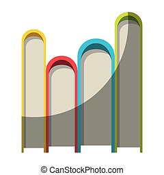 colorful graphic of stack of books without contour and half...