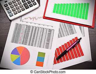 colorful graphs, charts, marketing research and business annual report